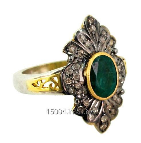 Buy Pretty Vintage Victorian Antique Natural Green Zambian Emerald Ring with Natural Rose cut Diamonds in 925 silver