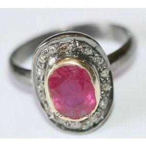 Buy Designer Vintage Victorian Antique Natural Arican Ruby Ring in 925 silver with Natural Rose Cut Diamonds