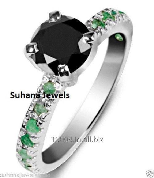 Buy 1.37 ct Round Cut Black Diamond Ring in 925 Sterling Silver with Natural Emerald