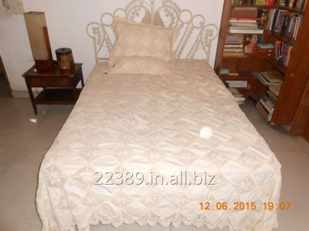 Buy Linen Lace Bed Cover In Ecru Color