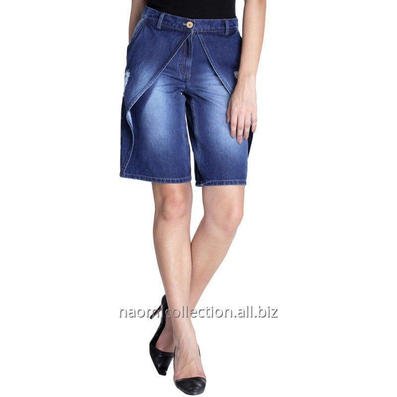 Buy Pleated Denim Shorts