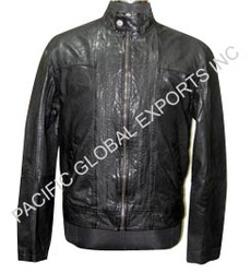 Round Neck Men Leather Jacket