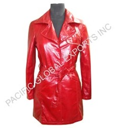 Soft Leather Red Long Coat