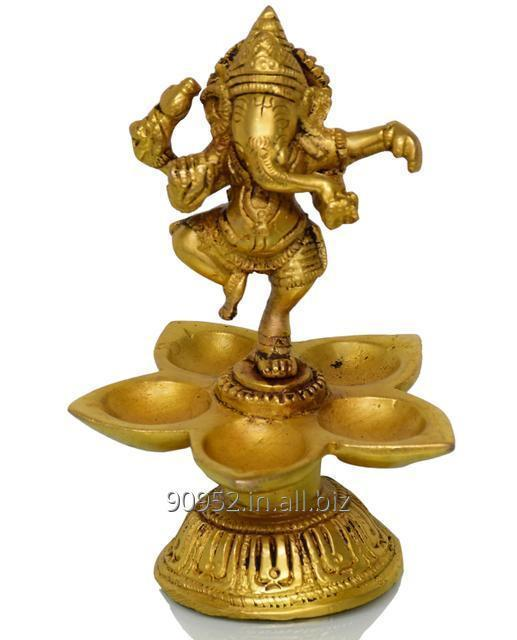 Dancing Ganesha with 5 diyas crafted in pure brass