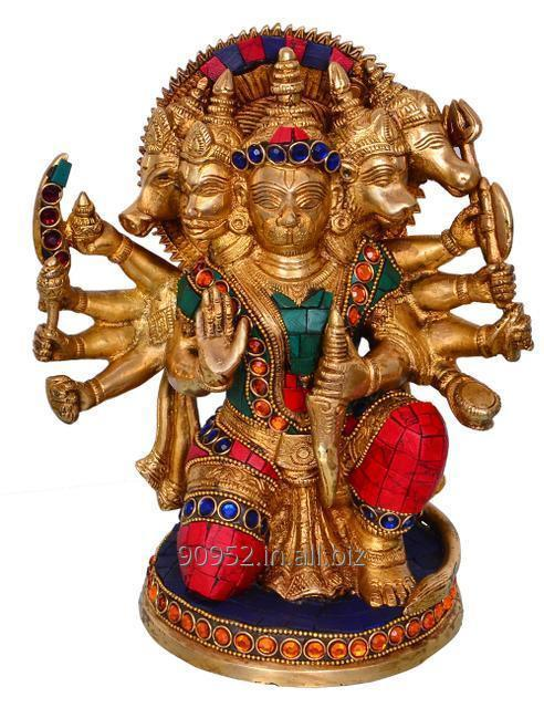Hindu Religious Lord Hanuman/Bajrangbali Statue in Panch-mukhi Avatar: Sculpted in Solid Brass Metal with gemstones