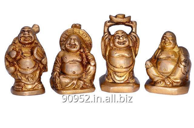 Vintage Laughing Buddha Statue Set In Solid Brass Metal
