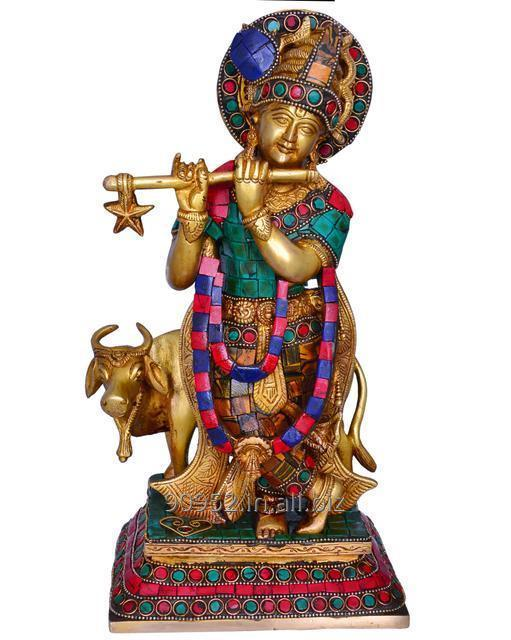 Hindu Religious Lord Krishna With Cow Statue with Gemstonework