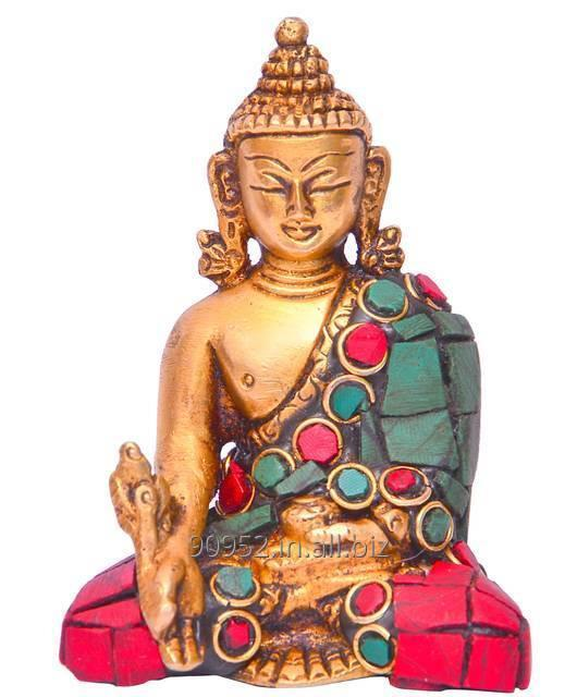 God Statue of Lord Buddha in Solid Brass Metal with Turquoise Gem-stone Work