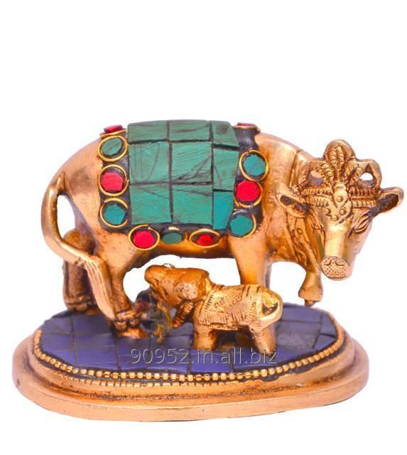 Kamdhenu Cow and Calf in Pure Brass with gem stonework