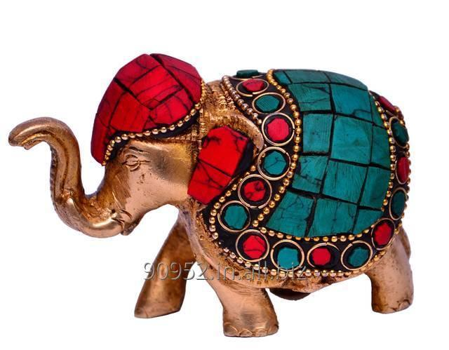 Brass Metal Elephant Statue Showpiece with Gem-stone Work