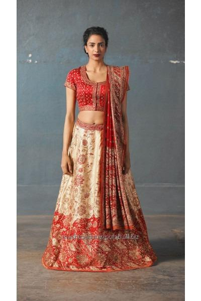 Off White And Red Embroidered Lehenga