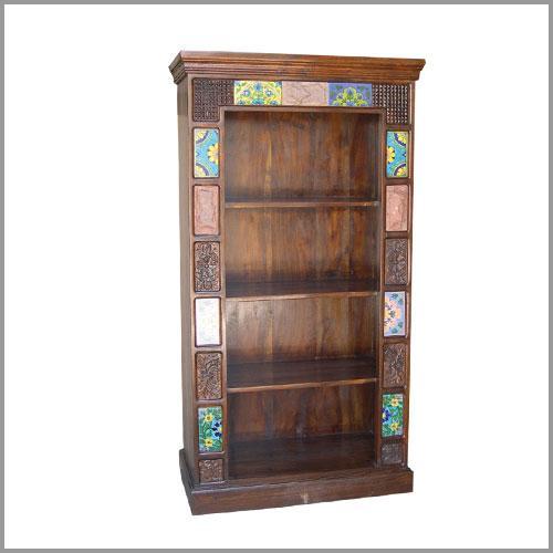 Tiles, stone & print block book shelf
