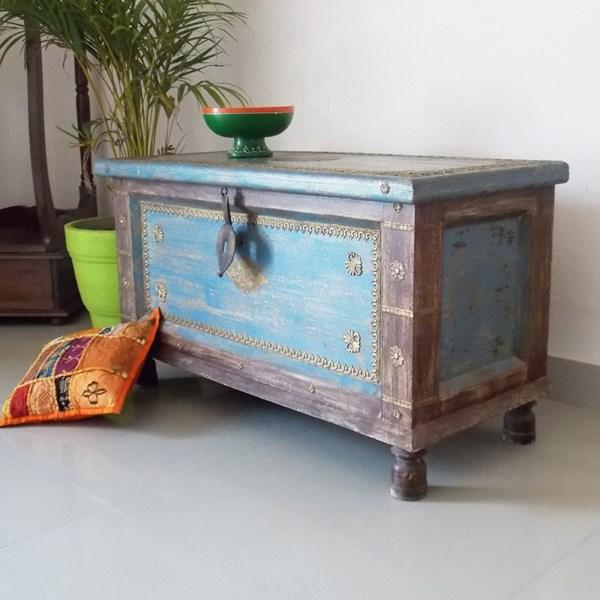 Distress finish big trunk with brass sheet work