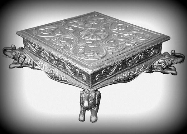 "White Metal & Teak Wood Carved Low Stool "" Elephant Splendour"""