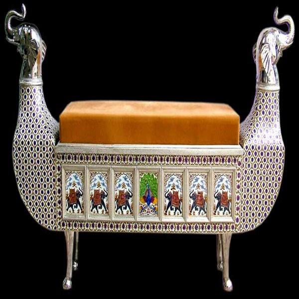 Meenakari teakwood royal long bench