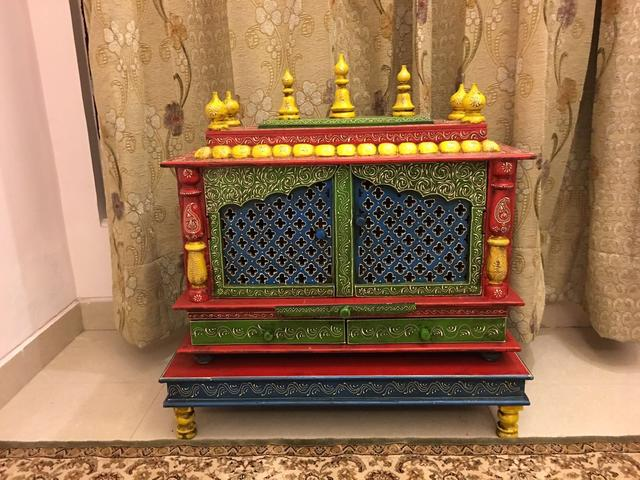 "Painted Wooden Temple With Matching Chowki ""Blessings"" temple18"