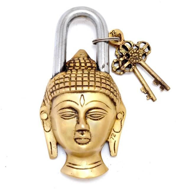 Handcrafted Buddha Shaped Brass Padlock