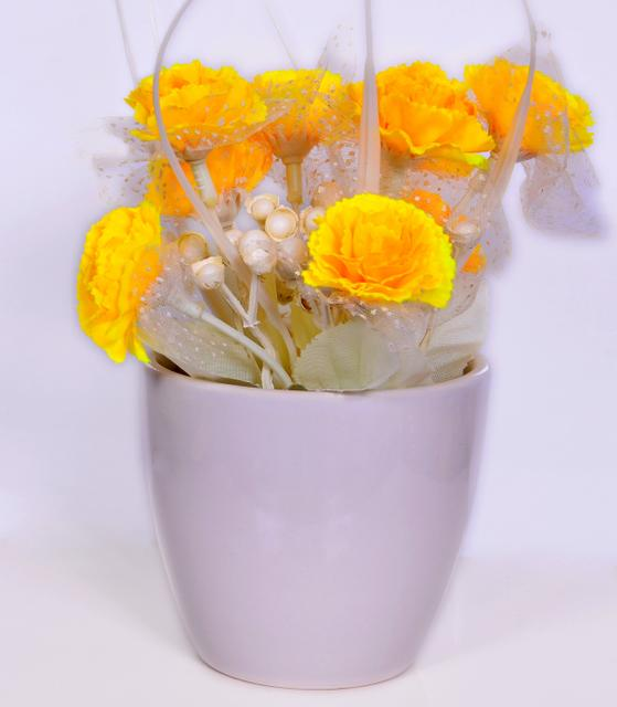 Flower Vase with Artificial Flowers for Table Top