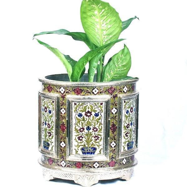 "Meenakari wooden Planter"" Circular flora"""