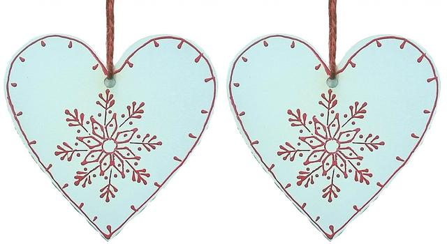 Wooden Christmas decoration, White, Set of 2, 4 inches