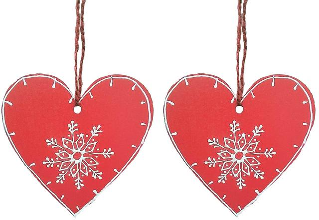 Wooden Christmas decoration, Set of 2, 4 inches