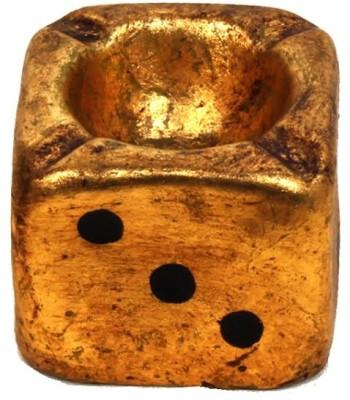 Purpledip Life Is A Game Of Luck Gold Polyresin Ashtray