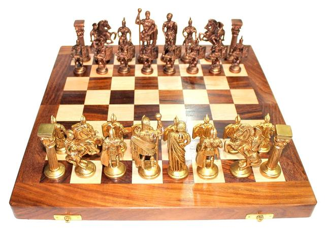 """Chess Set with Brass Sculpted Pieces in Ancient Roman Style and Wooden Board """"Golden Era"""":"""