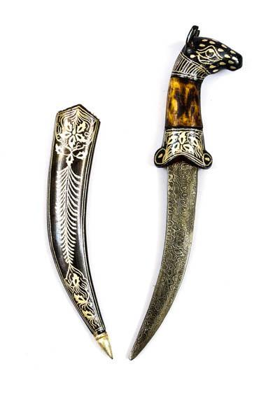 Horse head Koftgari Decorative dagger with camel bone
