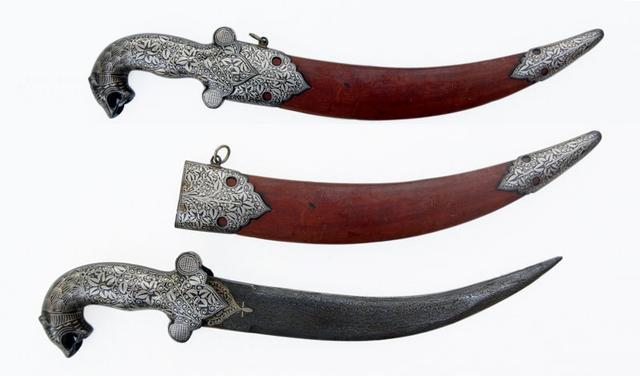 Leather scabbard Decorative dagger with tiger head