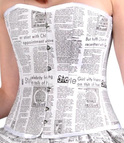 Buy Newspaper print Overbust Corset