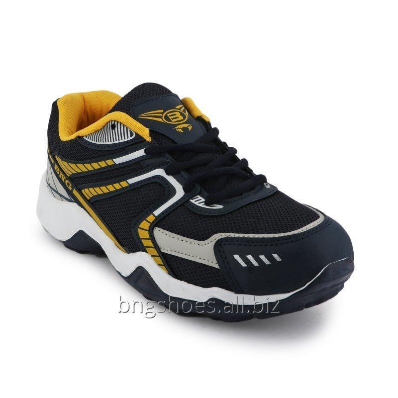 Buy NAVY BLUE-YELLOW SPORTS SHOES
