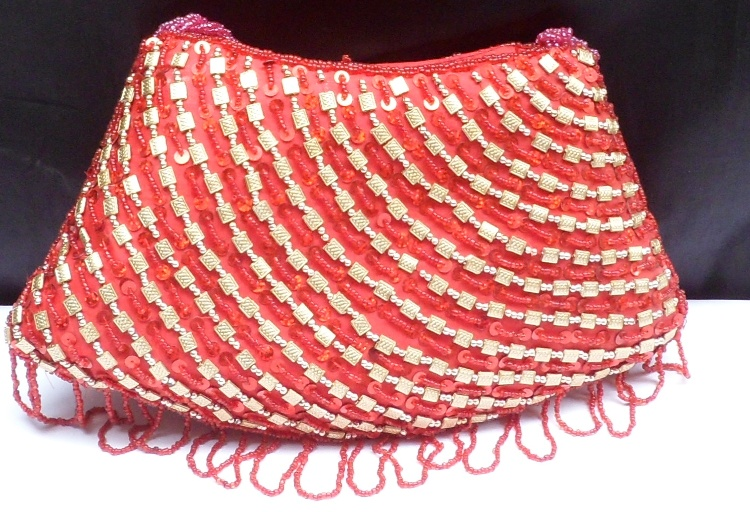 Buy Red Colour Beaded Ladies Purse