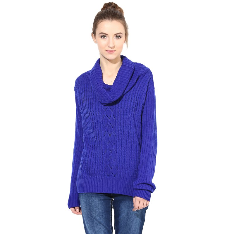 Blue Cowl Cable Knit Sweater
