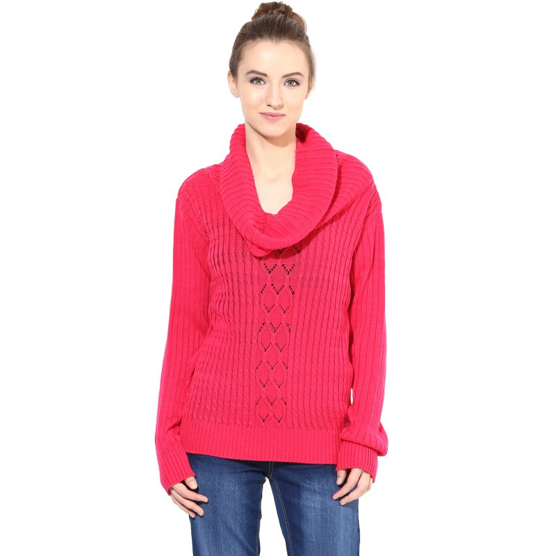 Pink Cowl Cable Knit Sweater