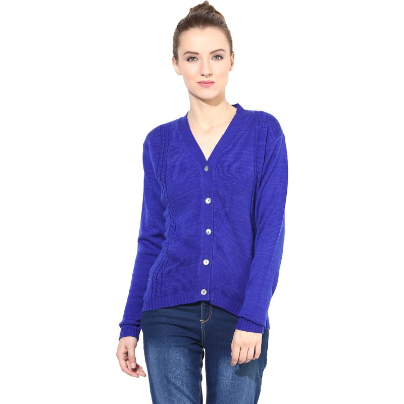 Blue v-neck with cable design sweater