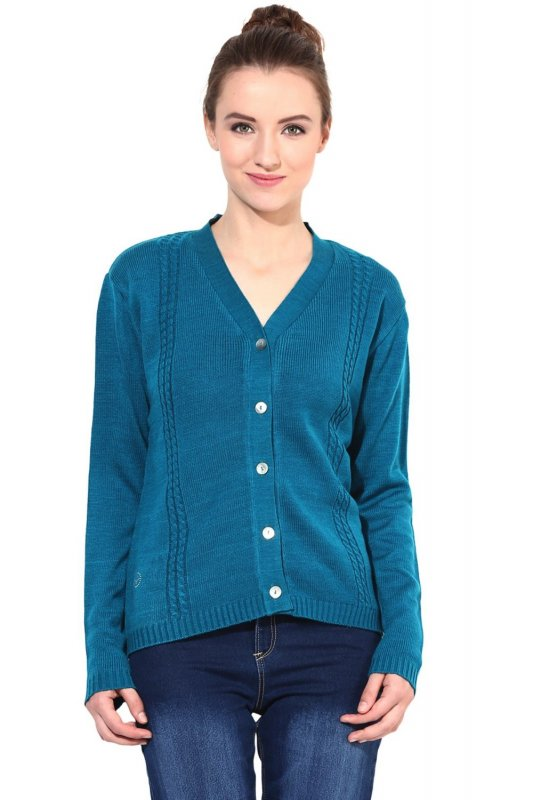 Teal v-neck with cable design sweater