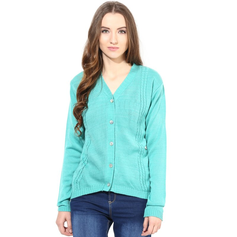 Green v-neck with cable design sweater