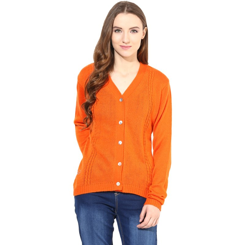 Orange v-neck with cable design sweater