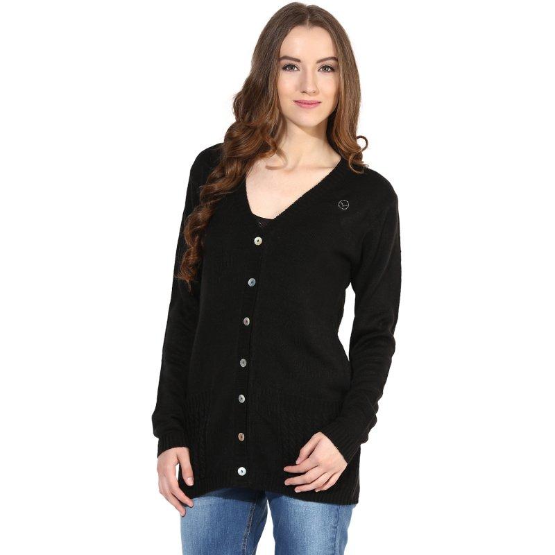 Black v-neck sweater with front pocket