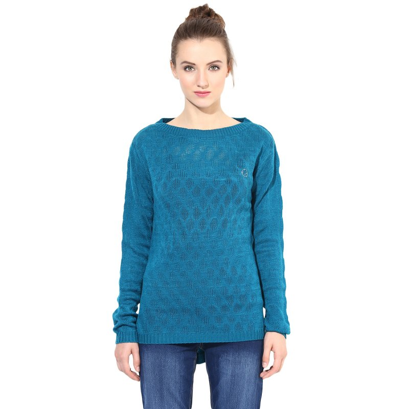 Teal boat-neck sweater