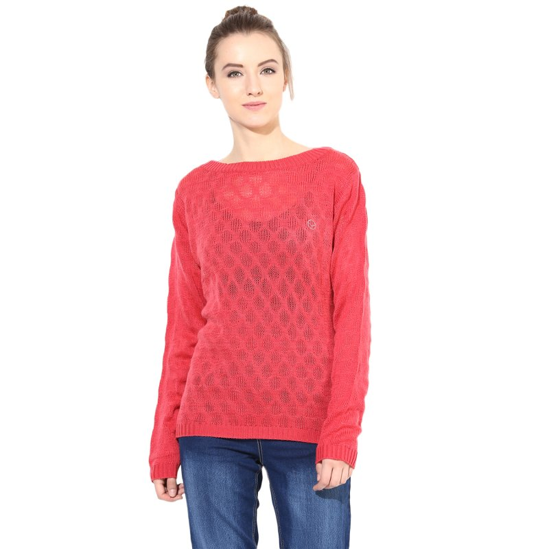 Fuchsia boat-neck sweater