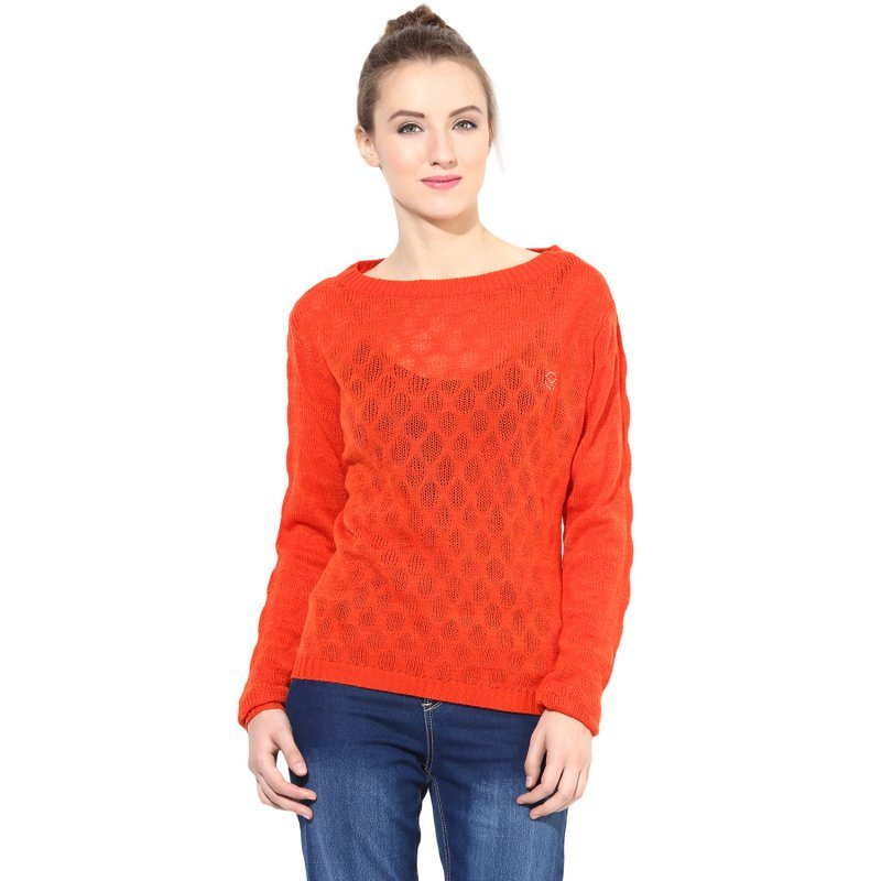 Orange boat-neck sweater