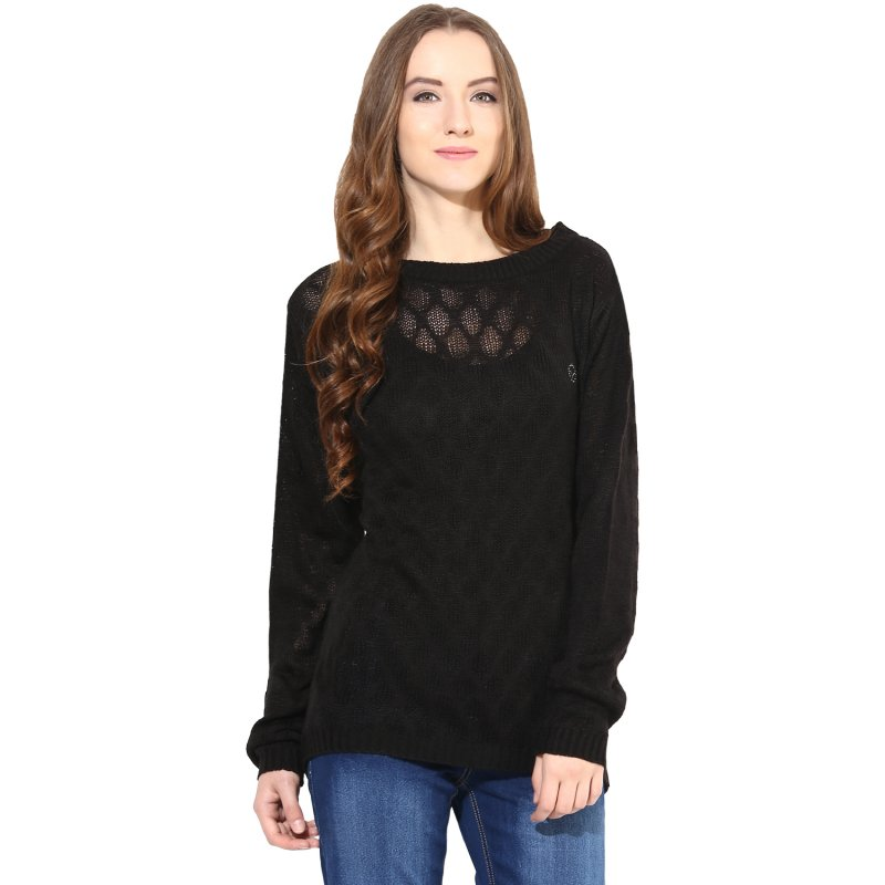 Black boat-neck sweater