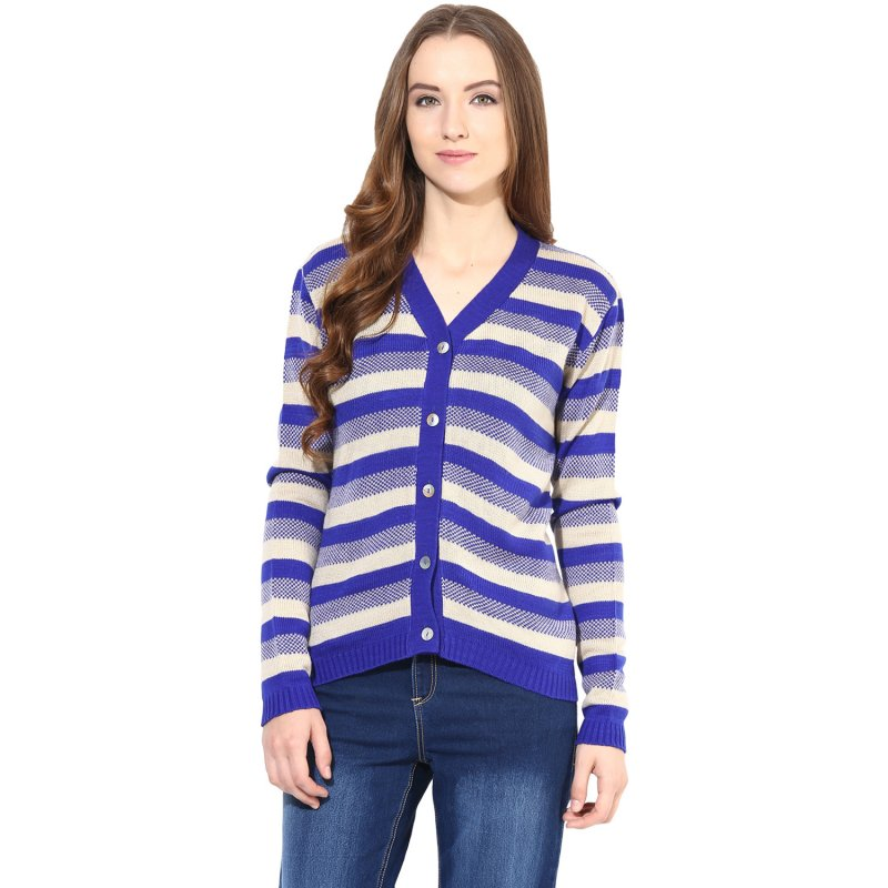 Off-white / Blue striped Cardigan