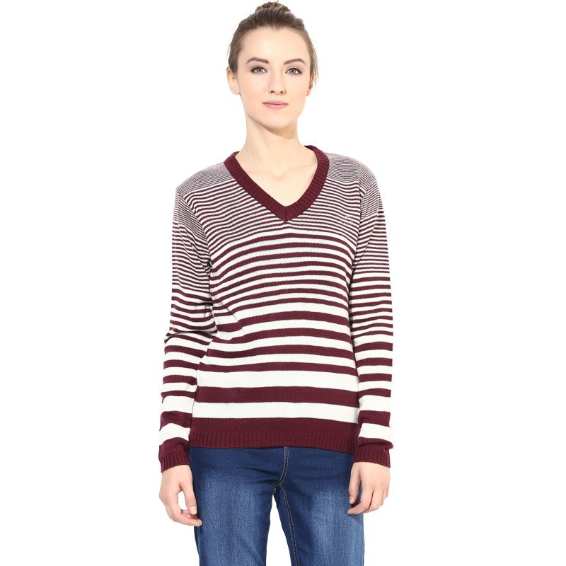 Off-White / Wine striped pullover