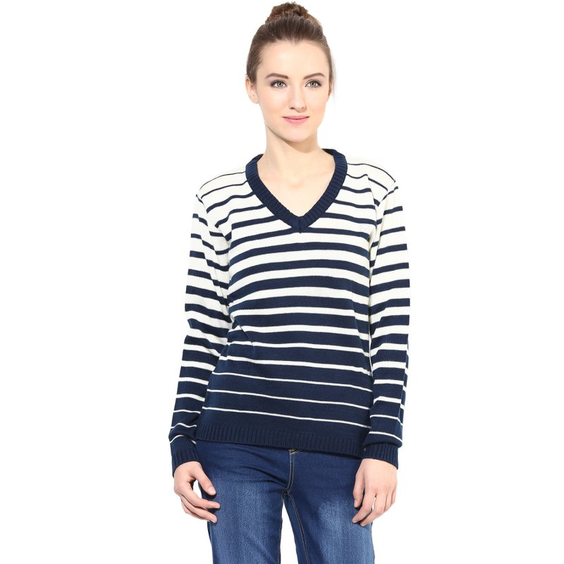 Off-white/blue striped pullover
