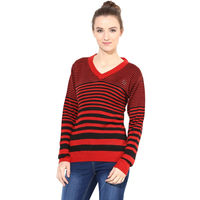 Red / Black Striped Pullover