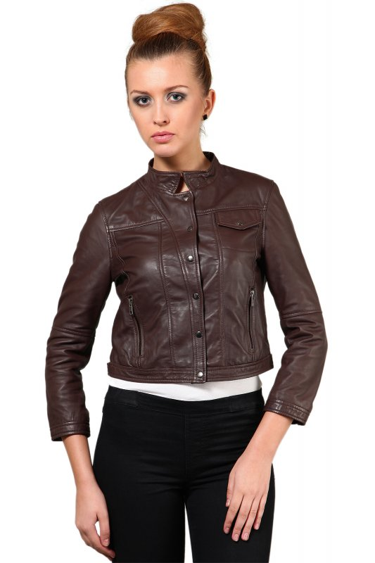 Brown leather jacket with shirt collar