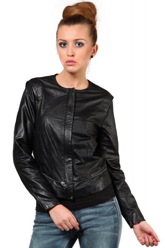 Round neck black leather jacket