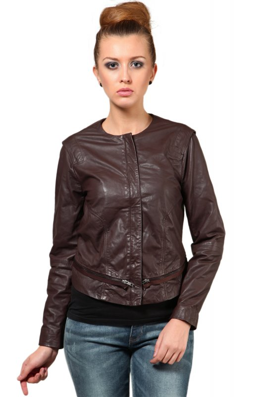 Round neck brown leather jacket